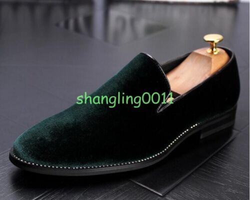 Stylish Mens Velvet Loafers Casual Dress Formal Business Slip On Shoes Comfy Hot