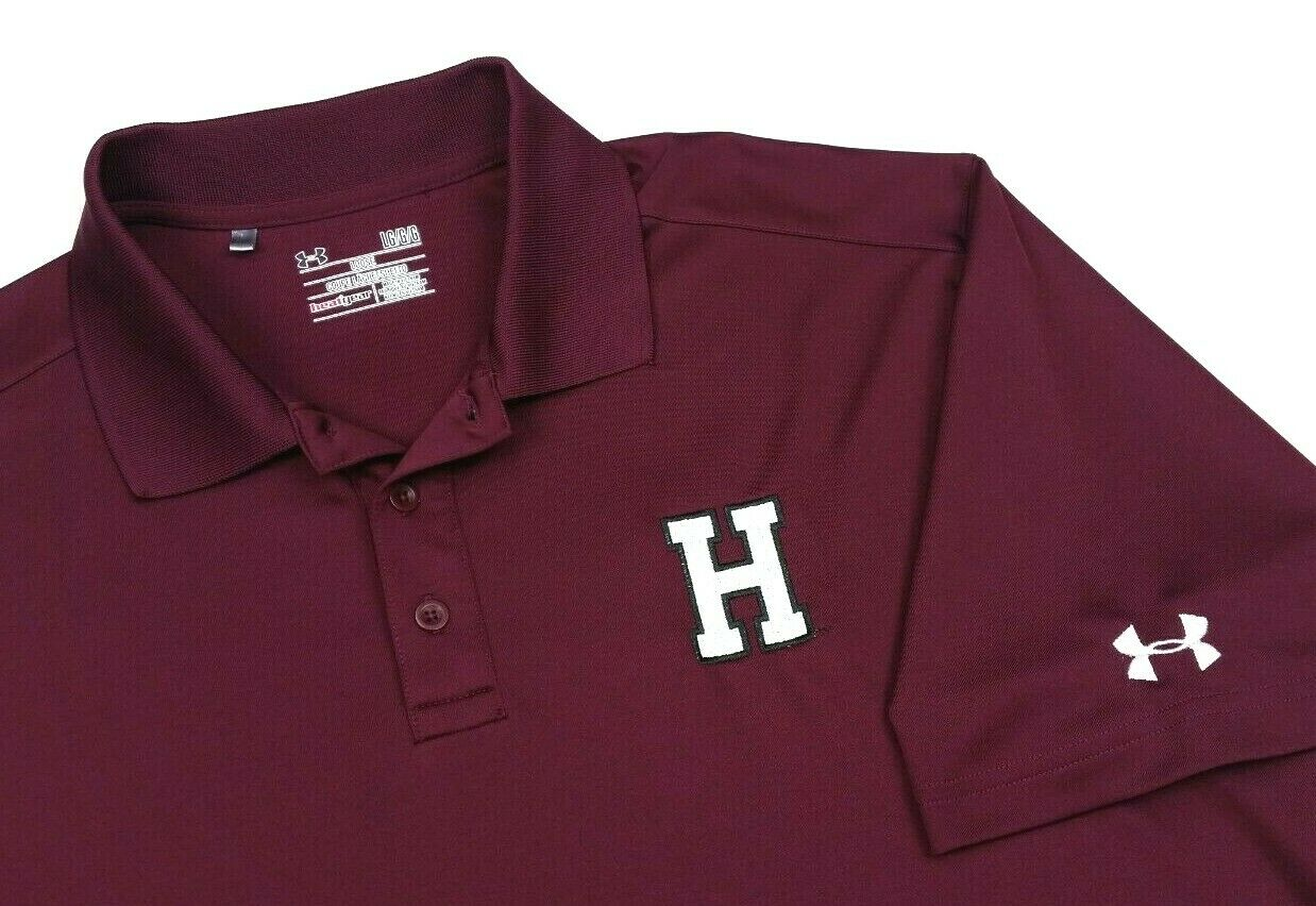 Under Armour Harvard Crimson Solid Red Golf Polo Shirt Large Mens 4