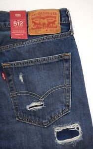Ajustados 512 Entallado Pantalones Detalles Denim De 288330109 Levi's Desgarrados Azul QsdorxhBtC