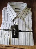 Errepi Veste Made Italy 100% Cotton White/gray Striped Dress Shirt 17-32/33