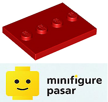 Lego-Minifigure-Red-Tile-Base-Plate-Modified-3-x-4-with-4-Studs-in-Center