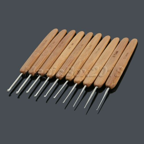 10pcs Bamboo Handle Aluminum Crochet Knitting Needles Hook Hooks 0.5mm-2.75mm