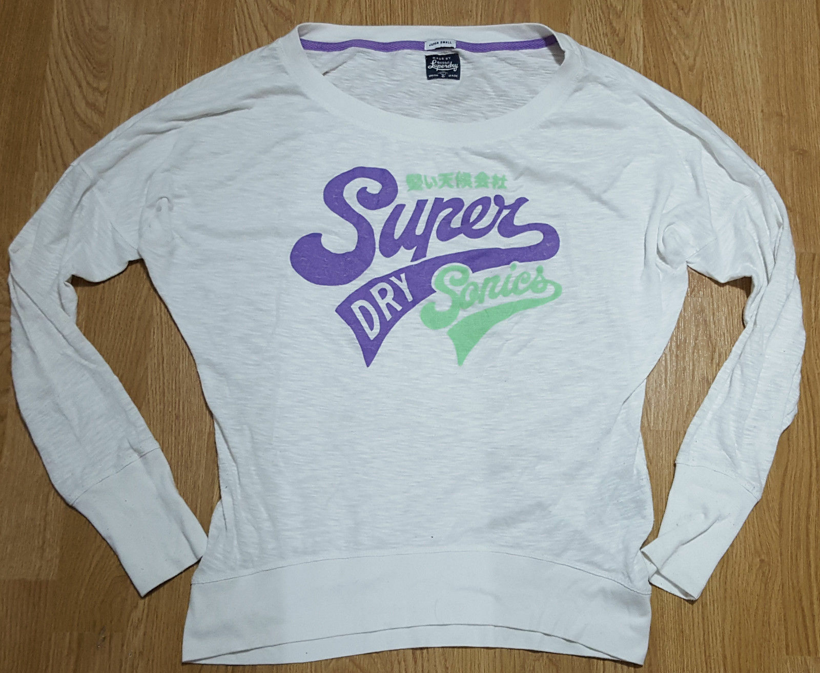 Superdry Sonics Long Sleeve Jumper Top Ladies White Size S