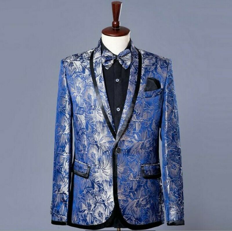 Men's Formal Slim Shawl Collar Suits Show Floral Classic Coats Dress Party New
