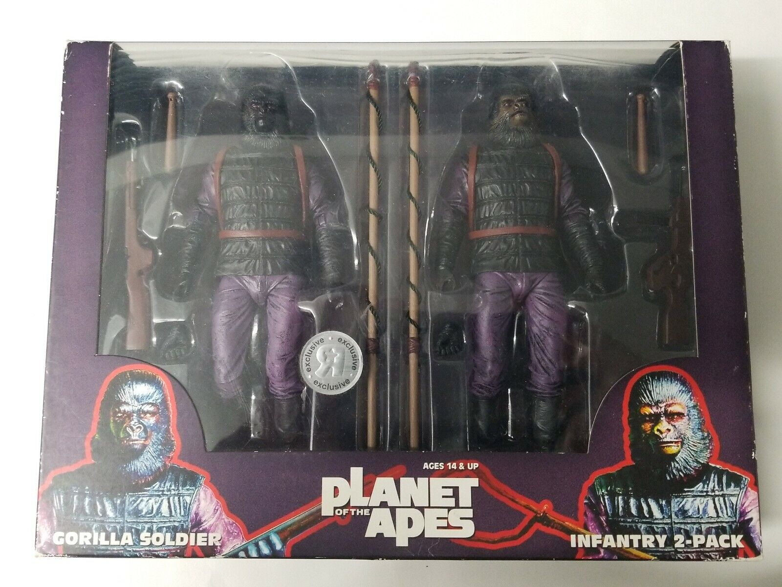 NECA PLANET OF THE APES INFANTRY 2 PACK GORILLA SOLDIERS 7 azione cifraS