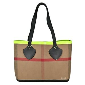 NWT-Authentic-Burberry-Medium-Reversible-Canvas-Check-Bonded-leather-Neon-Tote