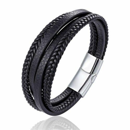 Hommes Multi Couches Bracelet Bracelet Set Bangle Fashion noir corde chaîne Bijoux