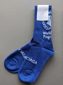 BALENCIAGA SOCKS - unisex Mid-Calf - world food programme - Royal Blue