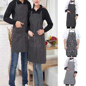 Men Women Cooking Kitchen Restaurant Chef Adjustable Bib Apron Dress with Pocket