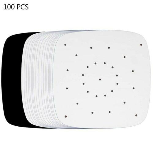 100Pcs Air Fryer Perforated Bamboo 7.5inch Steamer Paper Parchment Liner Kitchen