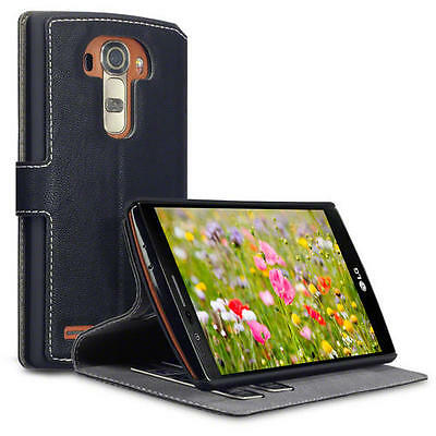 Ultra Thin Crosshatch Faux Leather Wallet Case for LG G4 - Black