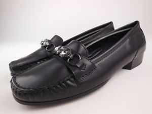 Details about ARA Blaise Black Leather Jeweled Loafers Shoes Women's Size 7 G NEW