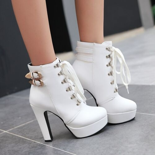Femme Combat Talons Hauts Plateforme Courte Cheville Bottes Lacets Boucle Chunky shoes