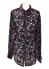 HENRI BENDEL Purple Velvet Mesh Blouse, Large