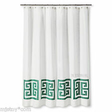 Item 6 New Threshold Shower Curtain Green Greek Key 100 Cotton Standard Top 72 X72