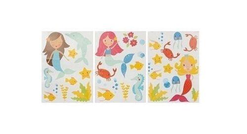 Mermaid Wall Stickers, Disney, Children, Baby, Girl, Bedroom, Pink, Nursery