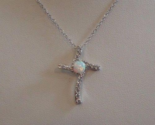 925 STERLING SILVER CROSS NECKLACE PENDANT W// 5MM OPAL /& .50 CT LAB DIAMOND