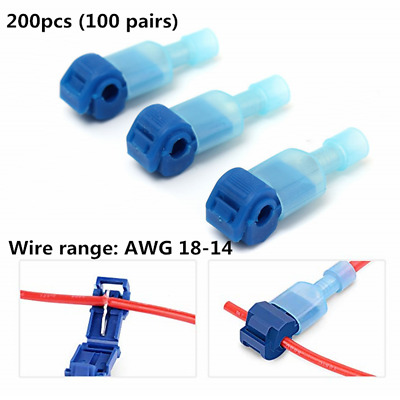 200pcs Wire Splice Insulated Spade Terminals /& T-Tap Self-stripping Connectors