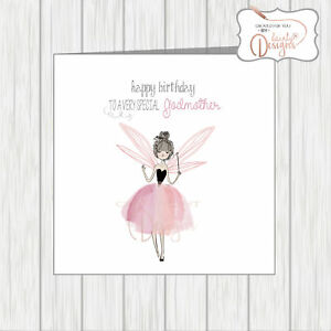 SPECIAL GODMOTHER Birthday Card Beautiful Pink Fairy Fairytale