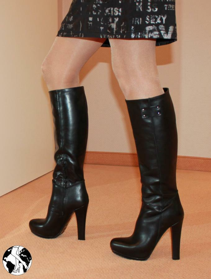Gr.38 Exklusiv Line - Made in  Kniestiefel High Heels Leder Absatz Stiefel