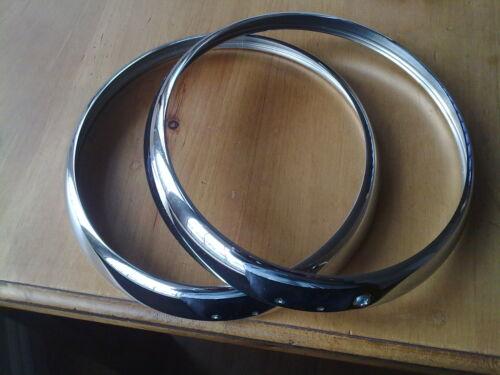 Morris Oxford Nuovo Chrome PROIETTORE Cerchi Triplo Placcato x 2 GRATIS UK POST