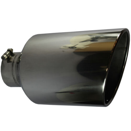 "Angle Cut Exhaust Tip Rolled End Tail Pipe 4/"" Inlet 8/"" Outlet 15/"" inch Long S//S"