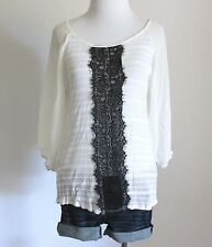 Daytrip The Buckle Lace Striped Chiffon Burnout Boho Knit Tee Shirt Top Blouse M
