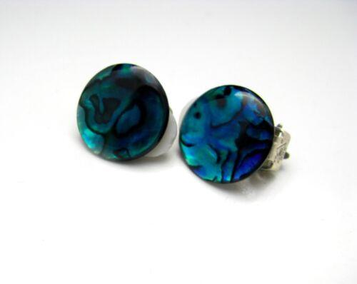 Ohrringe Ohrclips Paua Muschel Abalone Cabochon blau grün 16mm Silber