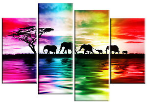 Elephants Sunset Rainbow Colours Canvas Picture 4 Panel Or Single Piece Canvas Ebay