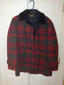 VTG Pendleton Red Blue Plaid Wool Car Coat Faux Fur No Size Tag L or XL