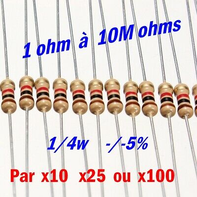 carbon resistor 10 à 100pcs résistance 1//4w 0,25w au choix 1  à 100k ohms