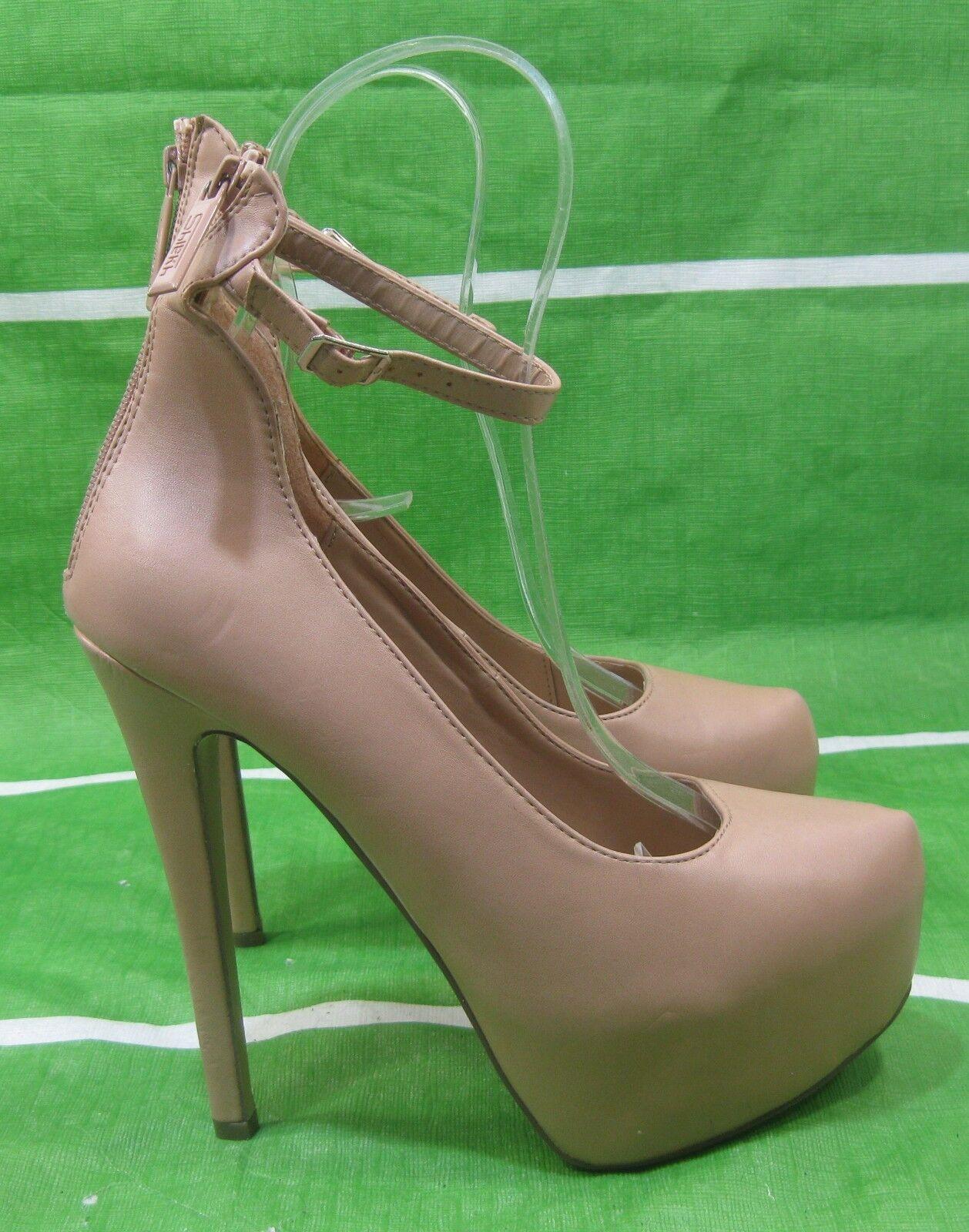 New lady skintone 6 Stiletto High Heel 2 Platform ankle strap Sexy shoes Size  8