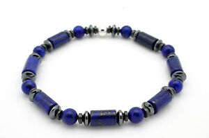 Lapis-Lazuli-and-Hematite-with-Sterling-Silver-Beads-Bracelet-Handmade-in-UK