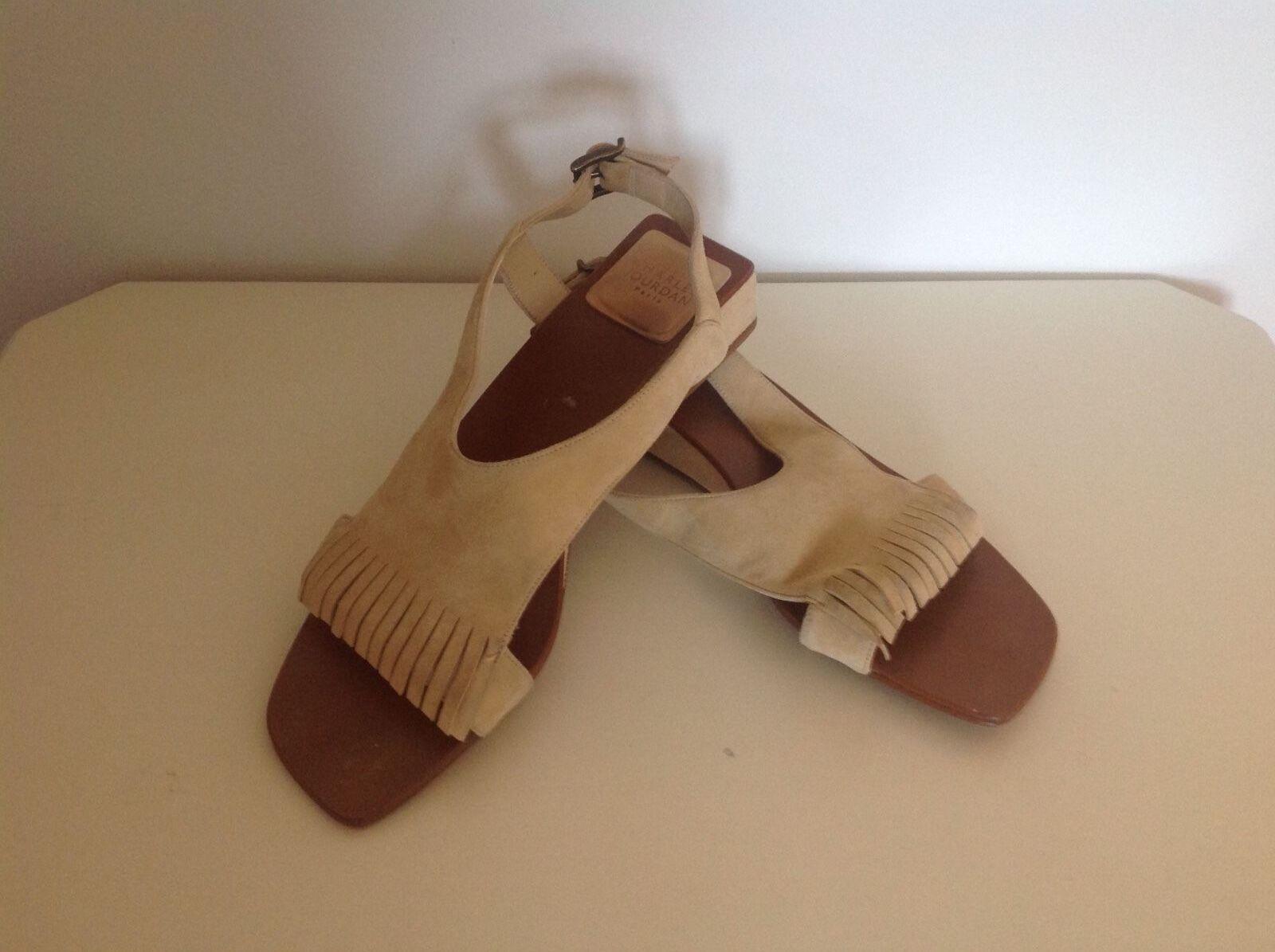 Charles Jourdan Beige Suede Low Wedge Sandals Sz 8