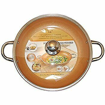 Electric Skillet Frying Pan Ceramic Tempered Glass Lid Non
