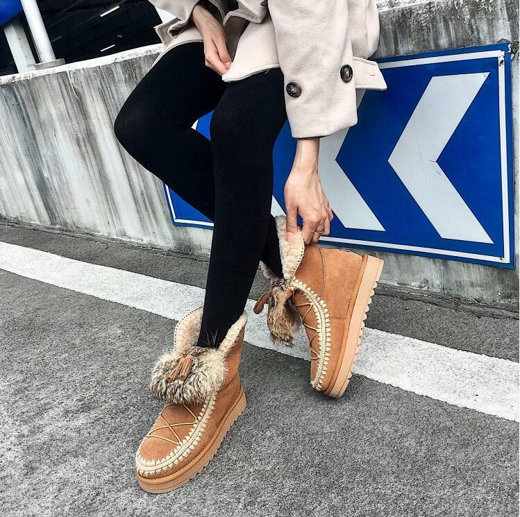Womens Wedge Low Heels Snow Ankle Boots Fur Lined Fringe Casual shoes Winter Sbo