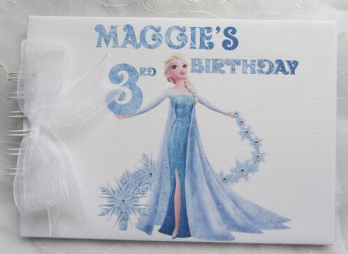 ANNA FROZEN PERSONALISED ELSA OLAF  BIRTHDAY GUEST BOOK-SCRAPBOOK ALBUM