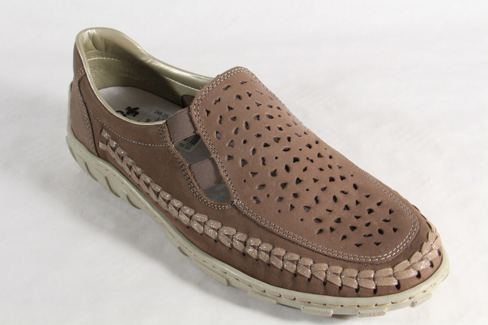 Rieker Slippers Ballerinas Low shoes Court shoes Soft Soft Soft Leather Insole Brown NEW 430808