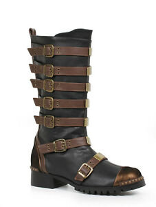 Ellie 158-PUNK Brown Minecraft Steampunk Renaissance Medieval Costume Knee Boot