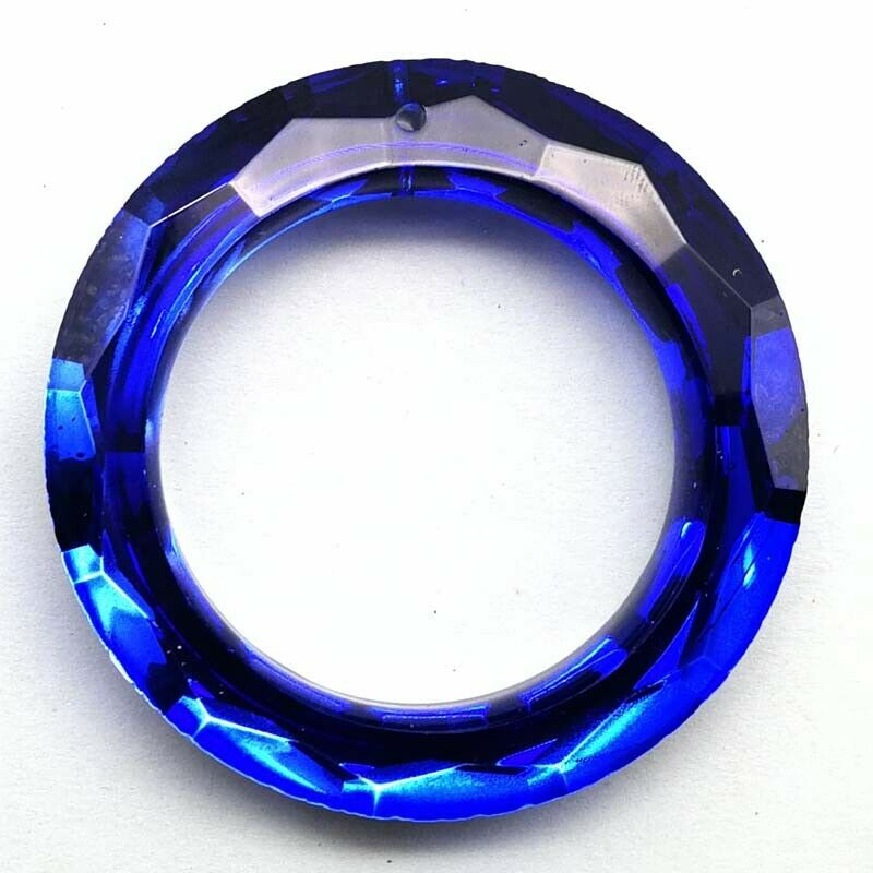 1 Pcs 50x8mm Faceted Green Titanium Crystal Donut Pendant Bead CG766