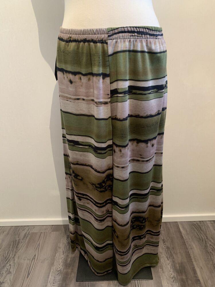 Akh Ballon-pantalon, Vert-beige-noir, T 48-54 Ronde Caoutchouc Plus Size Superposé-warz, Gr 48-54 Rundumgummi Plus Size Lagenlook