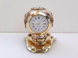 Solid-Brass-Finish-Marine-Nautical-Divers-Helmet-Clock-Gift
