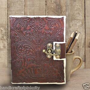 Vintage-Leather-Journal-Diary-Sketchbook-Notebook-Handmade-Vintage-Lock-Closer