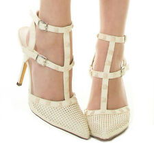 New Cream Beige Pointy Toe Stud Ankle T Strap Stiletto High Heel Pump sandal 8