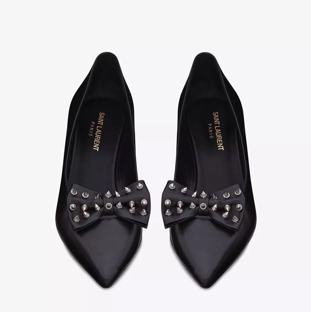 Saint Laurent YSL Hedi Slimane Kitten 50 Studded Bow Pumps Black Leather - 39.5