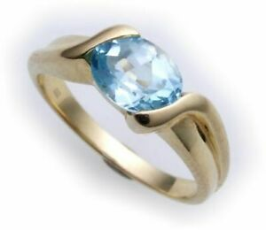 Damen-Ring-echt-Gold-585-echt-Topas-7x5-mm-Glanz-Gelbgold-Qualitaet
