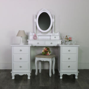 White-Wooden-Bedroom-Set-Dressing-Table-Mirror-Stool-Bedsides-Shabby-French-Chic