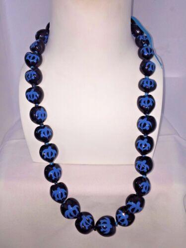 QTY 2 NEW Hawaii Wedding Kukui Nut Lei Necklace ~ BLACK W// BLUE HONU TURTLE