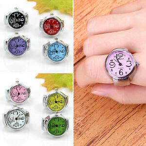 1p Girl Worship Unique Steel Round Dial Stylish Elastic Quartz Finger Ring Watch