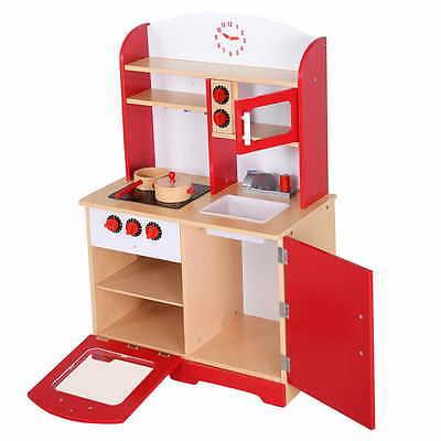 Cuisine  jeu d'imitation jouet pour enfant en bois intéressé rouge NEUF